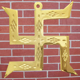 Divya Mantra Hindu Lucky Auspicious Symbol Swastika Pure Brass Wall Hanging For Vastu, Good Luck and Prosperity - Home Decor Gift Set Of 3 - Divya Mantra
