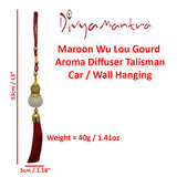 Divya Mantra Decorative Red Chinese Feng Shui Wu Lou Gourd Aroma Diffuser Talisman Gift Pendant Amulet for Car Rear View Mirror Decor Ornament Accessories/ Good Luck Charm Protection Interior Wall Hanging Showpiece - Divya Mantra