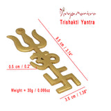 Divya Mantra Indian Traditional Trishul Om Swastika Pure Brass Yantra Spiritual Metal Wall Hanging Showpiece Ornament/Hindu Religious Trisakthi Vastu Pooja Item Collectible - Home Decor Gift - Divya Mantra