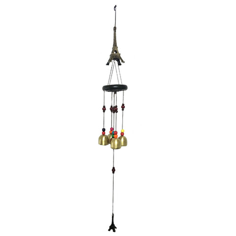 Divya Mantra Feng Shui 4 Fengling Bells Eiffel Tower Love Symbol with Multicolor Beads Metal Good Luck Bronze Windchime Gift For Home - Divya Mantra