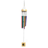 Divya Mantra Feng Shui Vastu Rainbow 7 Pipe Metal Good Luck Windchime with Wooden Yin Yang Windcatcher Gift For Home - Multicolor