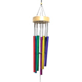 Divya Mantra Feng Shui Vastu Rainbow 7 Pipe Metal Good Luck Windchime with Wooden Yin Yang Windcatcher Gift For Home - Multicolor - Divya Mantra