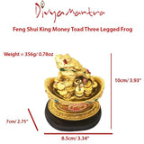 Divya Mantra Feng Shui King Money Toad Three Legged Frog on Ingot For Prosperity Financial Business Good Luck - Divya Mantra