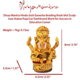 Divya Mantra Hindu God Ganesha Reading Book Idol Sculpture Statue Puja/Car Dashboard Murti for Success in Education Career - Divya Mantra