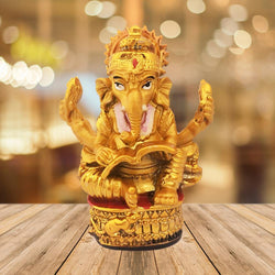 Divya Mantra Hindu God Ganesha Reading Book Idol Sculpture Statue Puja/Car Dashboard Murti for Success in Education Career