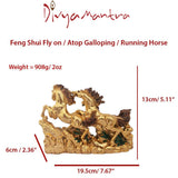 Divya Mantra Feng Shui Three 3 Running Horses for Fame Recognition, Power, Career Luck, Success and Good Luck - Divya Mantra