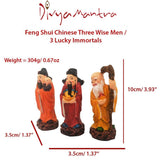 Divya Mantra Feng Shui Chinese Three Wise Men / 3 Lucky Immortals / Star Gods / Fu Lu Shou / Fuk Luk Sau Wealth Gods for Long Life, Fame and Fortune - Multicolor - Divya Mantra
