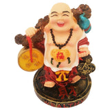 Divya Mantra Happy Man Laughing Buddha Holding Wealth Coins Statue For Attracting Money Prosperity Financial Luck Home Decor Gift