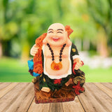 Divya Mantra Happy Man Laughing Buddha Holding Wealth Lucky Coins Statue For Attracting Money Prosperity Financial Luck Home Decor Gift