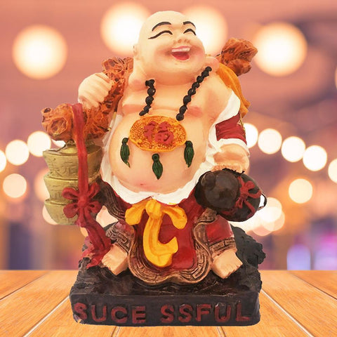 Divya Mantra Happy Man Laughing Buddha Holding Ingot Yuan Bao for Attracting Abundance Wealth Financial Prosperity Good Luck Home Decor Gift - Divya Mantra