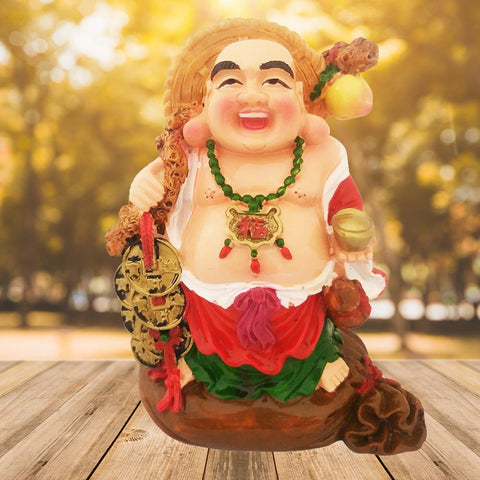 Divya Mantra Happy Man Laughing Buddha Holding Wealth Lucky Coins and Ingot Yuan Bao Statue For Attracting Money Prosperity Financial Luck Home Decor Gift