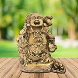 Divya Mantra Happy Man Laughing Buddha Holding Wealth Lucky Coins Statue For Attracting Money Prosperity Financial Luck Home Decor Gift - Divya Mantra