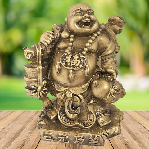 Divya Mantra Happy Man Laughing Buddha Holding Ingot Yuan Bao for Attracting Abundance Wealth Financial Prosperity Good Luck Home Decor Gift