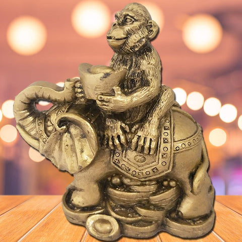 Divya Mantra Feng Shui Monkey Holding Ingot on Elephant for Success & Career