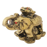 Divya Mantra Feng Shui King Money Toad Three Legged Frog on Trunk up Elephant For Prosperity Financial Business Strength Success Good Luck