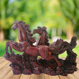 Divya Mantra Feng Shui Two 2 Running Horses for Fame Recognition, Power, Career Luck, Success and Good Luck