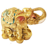 Divya Mantra Feng Shui Trunk up Bejeweled Elephant on Wealth Bed for Wish Fulfillment - Divya Mantra