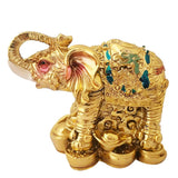 Divya Mantra Feng Shui Trunk up Bejeweled Elephant on Wealth Bed for Wish Fulfillment
