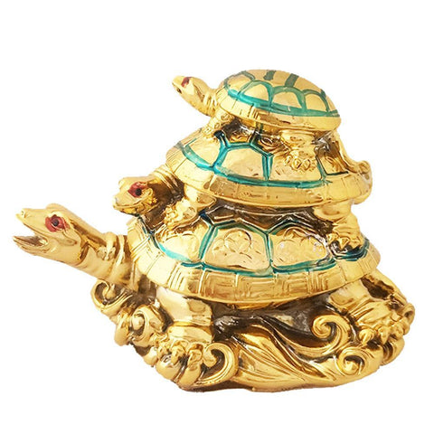 Divya Mantra Feng Shui Three Tiered Tortoise For Longevity, Descendant