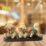 Divya Mantra Three Monkey Principles Baby Lama Showpiece Set Home Decor Gift - Divya Mantra