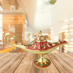 Divya Mantra Aladdin Magic Genie Costume Moroccan Lantern Vintage Lamp Arabian Decorative Light Item for Party Decorations, Home, Kitchen Table Decor Accessories Wedding Decoration - Red, Golden