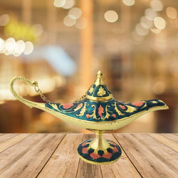 Divya Mantra Aladdin Magic Genie Costume Moroccan Lantern Vintage Lamp Arabian Decorative Light Item for Party Decorations, Home. Kitchen Table Decor Accessories Wedding Decoration - Green, Gold - Divya Mantra
