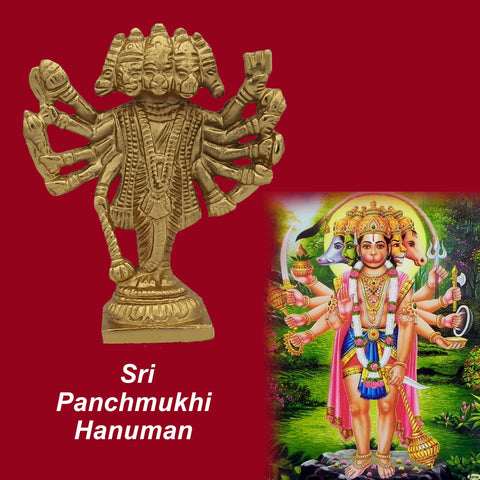 Divya Mantra Hindu God Panchmukhi (Five Faced) Hanuman Idol Sculpture Statue Murti