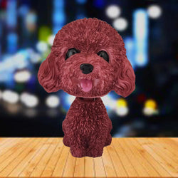 Divya Mantra Smiling Cute Red Toy Poodle Dog Dashboard Bobble Head Doll Showpiece, Collection Figurines, Gifts for Kids, Car Decoration - Divya Mantra