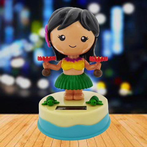 Divya Mantra Solar Power Dashboard Bobble Head Dancing Shaking Hulla Girl Toy Doll Showpiece, Collection Figurines, Gifts for Kids, Car Decoration - Divya Mantra