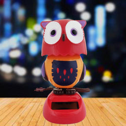 Divya Mantra Solar Power Dashboard Bobble Head Dancing Shaking Owl Toy Doll Showpiece, Collection Figurines, Gifts for Kids, Car Decoration - Red - Divya Mantra