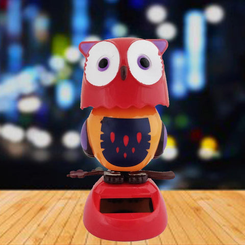 Divya Mantra Solar Power Dashboard Bobble Head Dancing Shaking Owl Toy Doll Showpiece, Collection Figurines, Gifts for Kids, Car Decoration - Red