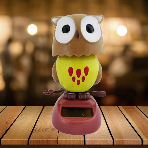 Divya Mantra Solar Power Dashboard Bobble Head Dancing Shaking Owl Toy Doll Showpiece, Collection Figurines, Gifts for Kids, Car Decoration - Brown - Divya Mantra