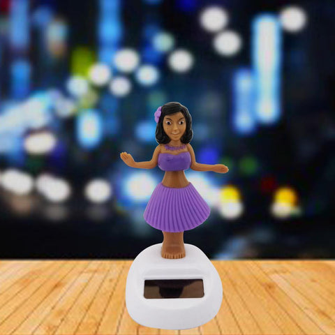 Divya Mantra Solar Power Dashboard Bobble Head Dancing Shaking Hulla Girl Toy Doll Showpiece, Collection Figurines, Gifts for Kids, Car Decoration - Purple - Divya Mantra