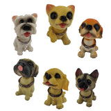 Divya Mantra Smiling Cute Dog Set of 6 Dashboard Bobble Head Toys Doll Showpiece, Collection Figurines, Gifts for Kids, Car Decoration