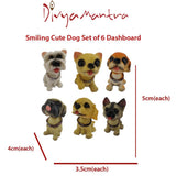 Divya Mantra Smiling Cute Dog Set of 6 Dashboard Bobble Head Toys Doll Showpiece, Collection Figurines, Gifts for Kids, Car Decoration - Divya Mantra