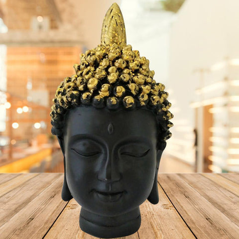 Divya Mantra Meditating Gautam Buddha Head Murti Sculpture Statue Puja/Car Dashboard Idol for Peace and Serenity, Black Golden