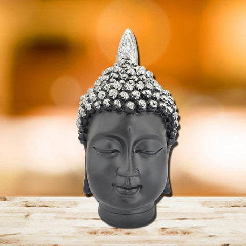 Divya Mantra Meditating Gautam Buddha Head Murti Sculpture Statue Puja/Car Dashboard Idol for Peace and Serenity, Black Silver - Divya Mantra