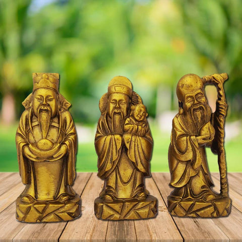 Divya Mantra Feng Shui Chinese Three Wise Men / 3 Lucky Immortals/Star Gods/Fu Lu Shou/Fuk Luk Sau Wealth Gods for Long Life, Fame and Fortune - Divya Mantra