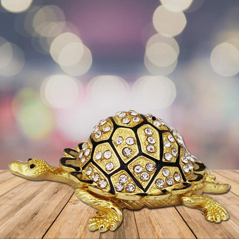Divya Mantra Bejeweled Wish Fulfilling Tortoise with Secret Compartment - Divya Mantra