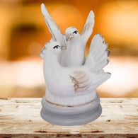 Divya Mantra Feng Shui Vastu Love Birds White Dove Pair Ceramic Decor Gift Figurine