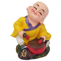 Divya Mantra Happy Tibetan Monk Baby Lama Dashboard Toy Playing Drums Doll Showpiece, Collection Figurines, Gifts for Kids, Car Decoration - Divya Mantra