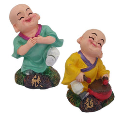 Divya Mantra Cute Tibetan Monk Happy Baby Lama Dashboard Toy Red Doll Showpiece, Collection Figurines, Gifts for Kids, Car Decoration Set of 2 - Divya Mantra