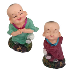 Divya Mantra Playful Tibetan Monk Happy Baby Lama Dashboard Toy Red Doll Showpiece, Collection Figurines, Gifts for Kids, Car Decoration Set of 2 - Divya Mantra