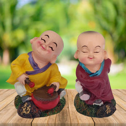 Divya Mantra Playful Tibetan Monk Baby Lama Dashboard Toy Red Doll Showpiece, Collection Figurines, Gifts for Kids, Car Decoration Set of 2 - Divya Mantra