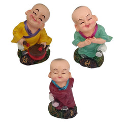 Divya Mantra Happy Tibetan Monk Baby Lama Dashboard Toy Red Doll Showpiece, Collection Figurines, Gifts for Kids, Car Decoration Set of 3 - Divya Mantra