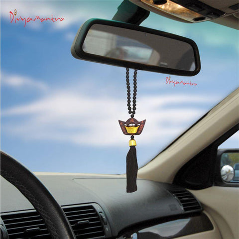 Divya Mantra Decorative Chinese Feng Shui Ingot Talisman Black Beads Gift Amulet Car Rear View Mirror Decor Ornament Accessories/Good Luck, Money, Protection Interior Home Wall Hanging Showpiece - Divya Mantra