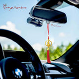 Divya Mantra Decorative Chinese Feng Shui Golden Wu Lou Talisman Pendant Gift Amulet Car Rear View Mirror Decor Ornament Accessories/Good Luck, Money, Protection Interior Home Wall Hanging Showpiece - Divya Mantra