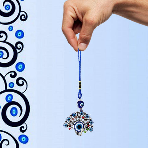 Divya Mantra Feng Shui Peacock Hamsa Buri Nazar Battu Evil Eye Decor Car Rear View Mirror Gift Accessories/Good Luck Charm Protection from Negativity Interior Home/Office/Door/Wall Hanging Showpiece - Divya Mantra