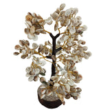 Divya Mantra Feng Shui Natural Gomati Chakra Healing Gem Stone Bonsai Fortune Vastu Plant Sculpture Tree; Good Luck, Wealth, Success & Prosperity; Home Office Table Decor Gift Item; 300 Crystals/Beads