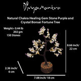 Divya Mantra Feng Shui Natural Pure Crystal & Amethyst Chakra Healing Gem Stone Bonsai Fortune Vastu Plant Sculpture Tree; Good Luck, Wealth, Success; Home Office Table Decor Gift Item; 150 Beads - Divya Mantra